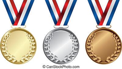 três, medalhas, ouro, prata, e, bronze, para, a, vencedores