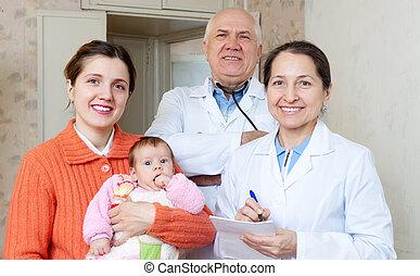 três, meses, pediatra, doutores, bebê, mãe