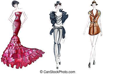 três, moda, esboços