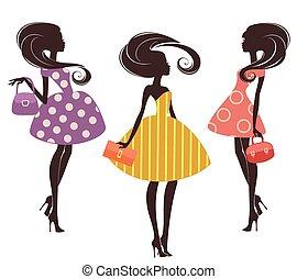 três, moda, meninas