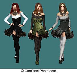 três, moda modela