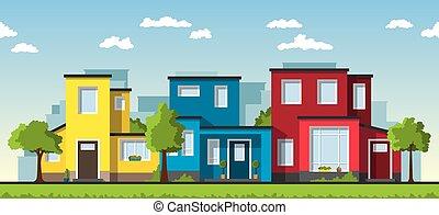 três, modernos, coloridos, casas, em, um, subúrbio