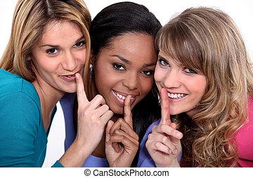 três, mulher, fazer, shush, gesto