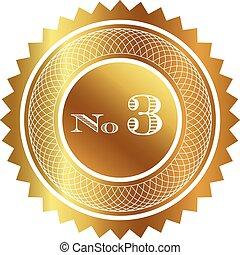 três, número, selo ouro