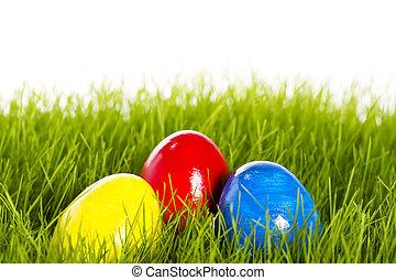 três, ovos páscoa, com, foco macio, em, capim, branco, fundo