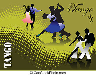 três, pares, tango, dançar