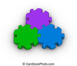 três, partes jigsaw
