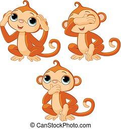 três, pequeno, macacos