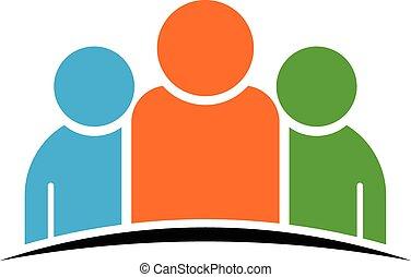 três pessoas, equipe, logotipo