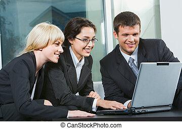 três, pessoas negócio