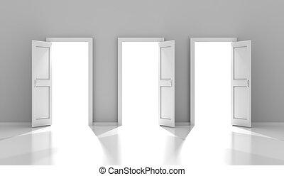 três, portas, com, copyspace, 3d, render