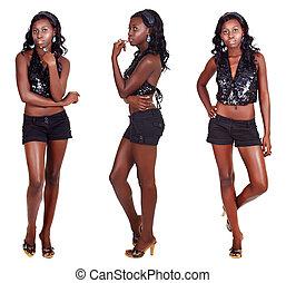 três, poses, de, mulher africana, com, cabelo longo