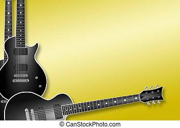 três, pretas, violões, ligado, fundo amarelo