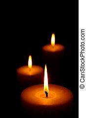 três, queimadura, velas