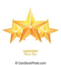três, realização, vetorial, stars., amarela, sinal., dourado, decoração, símbolo., 3d, brilho, ícone, isolado, branco, experiência.