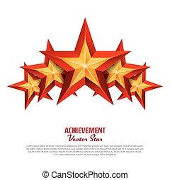três, realização, vetorial, stars., realístico, sinal., dourado, decoração, símbolo., 3d, brilho, ícone, isolado, branco, experiência.
