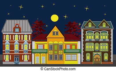 três, residencial, casas, à noite