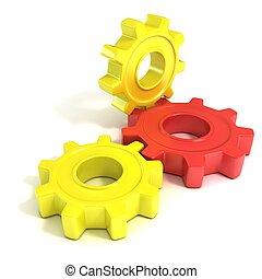 três, rodas engrenagem