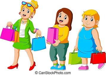 três, shopping, mulher feliz, alegre, desfrutando