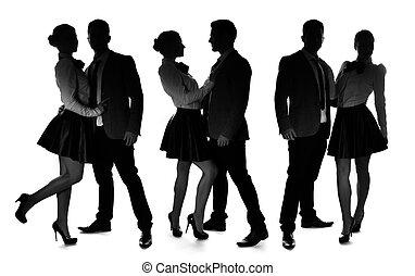 três, silhuetas, de, um, romanticos, par amoroso