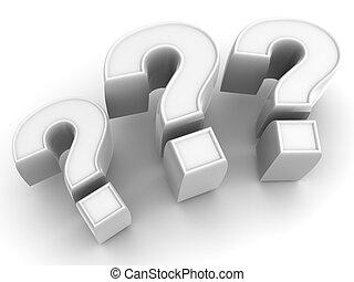 três, sinais, ligado, um, pergunta