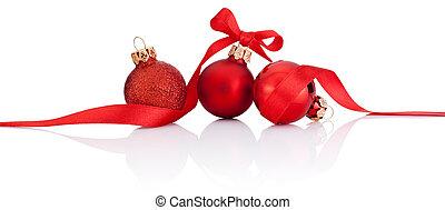 três, vermelho, natal, bolas, com, fita, arco, isolado, branco, fundo