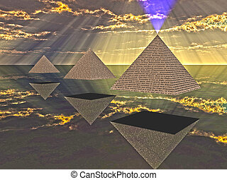 tríade, flutuante, piramides