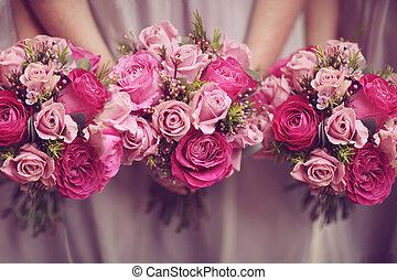 trío, de, rosa, ramillete, boda, ramos