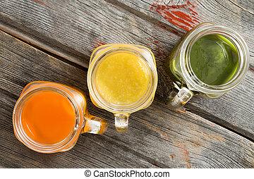 trío, jarras, colorido, jugo, vidrio, fruta, fresco