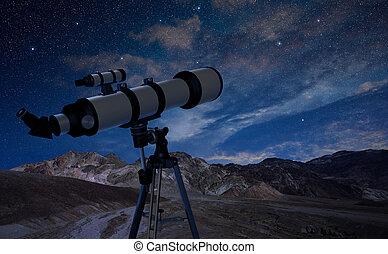 trípode, cielo, telescopio, señalar, noche