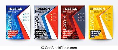 trójkąt, lotnik, graficzny, broszura, nowoczesny, fotografia, układ, błękitny, szablon, tło, cover., przestrzeń, czerwony, zaprojektujcie elementy, żółty, afisz