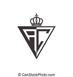 trójkąt, początkowy, dwa, czarnoskóry, litera, pół, logo