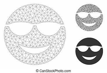 trójkąt, smiley, oczko, 2d, wektor, sunglasses, wzór, mozaika, ikona