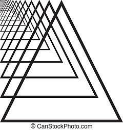 trójkąt, tunel, abstrakcyjny, ręka, perspektywa, lewa strona