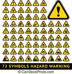 trójkątny, ostrzeżenie, ryzykować, symbols., cielna, żółty, komplet