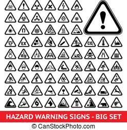 trójkątny, ostrzeżenie, ryzykować, symbols., cielna, komplet
