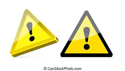 trójkątny, ostrzeżenie znaczą, na białym, tło