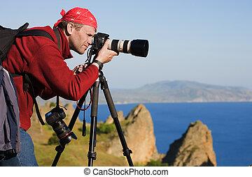 trójnóg, trzęsie się, fotograf, morze