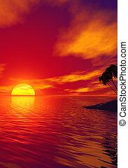 trópico, pôr do sol