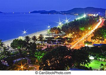 trópicos, océano, escena, vietnam, natrang, pacífico, noche,...