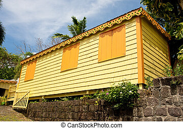 trópusok, sárga, mellékvágány, épület, narancs, zsalu
