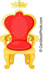 trône, backgr, couronne, royal, isolé, blanc lumineux,...