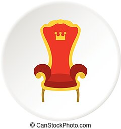 trône, cercle, royal, rouges, icône