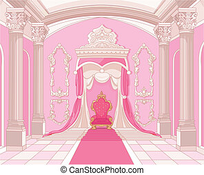 trône, château, magie, salle