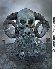 trône, crâne