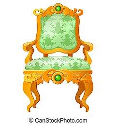 trône, doré, gros plan, illustration., formulaire, royal, isolé, grenouille, conte, arrière-plan., vecteur, vert, impression, blanc, dessin animé, fée