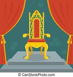 trône, doré, velvet., kingdom., fée, rouges