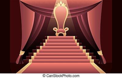 trône, intérieur, château