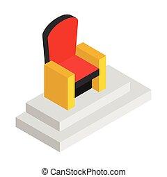 trône, isométrique, 3d, rouges, icône