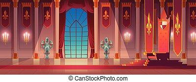 trône, moyen-âge, palais, dessin animé, vecteur, rois, salle